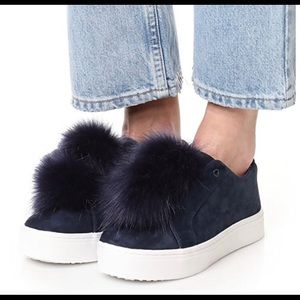 Nine West Blue Suede Pull on Pom Pom Sneakers